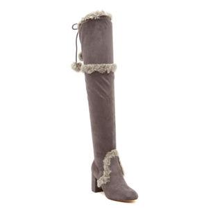 Charles David Grey Women's Microsuede Fur Boots